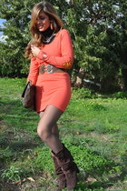 carrot orange wholesale-dressnet dress - brown Fendi bag - brown Bershka belt