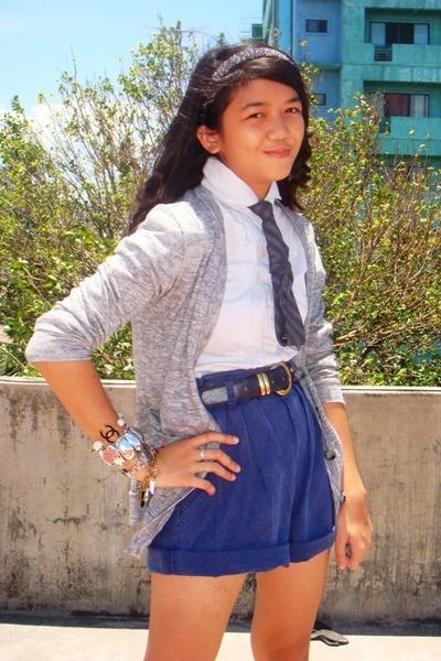 H&M top - Zara Man cardigan - Vintage Versace belt - Topshop shorts - peopleRpeo