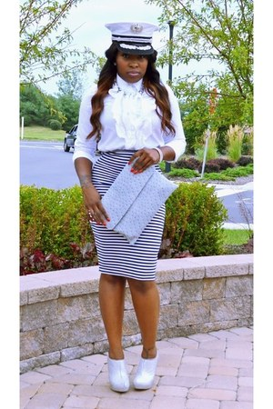 white Ebay hat - Steve Madden shoes - silver Tannys Couture bag