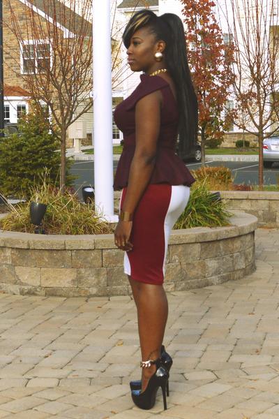 crimson blouse - brick red blouse - ruby red blouse - maroon skirt - white skirt