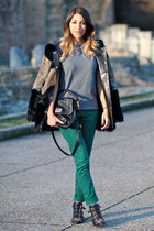 black fur Maje coat - black Chloe boots - teal SANDRO jeans