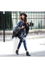 Office-boots-j-brand-jeans-urban-outfitters-hat-river-island-cape