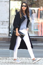 Jonak sneakers - Yves Saint Laurent coat - Ikks jeans - Celine sunglasses