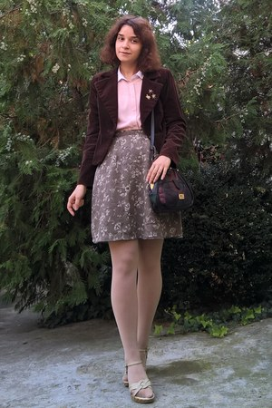 dark brown velvet thrifted blazer - neutral tights