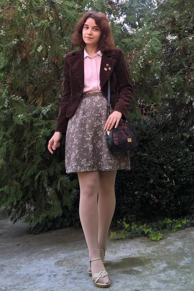 dark brown velvet thrifted blazer - neutral tights