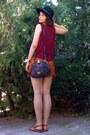 Black-vintage-marc-chantal-purse-burnt-orange-thrifted-shorts