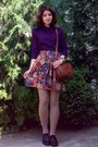 Deep-purple-c-a-shirt-beige-tights-burnt-orange-leather-thrifted-purse