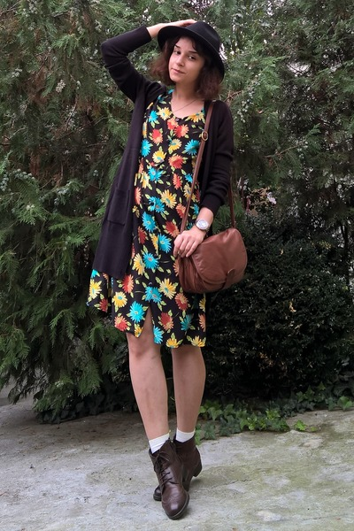 dark brown leather boots - black floral thrifted dress - black hat