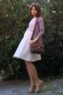 Dark-brown-zara-purse-beige-leather-wedges-tan-cardigan