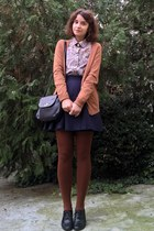 burnt orange tights - black vintage picard purse - bronze Bershka cardigan