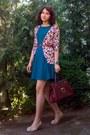Forest-green-gifted-bershka-dress-crimson-vintage-purse