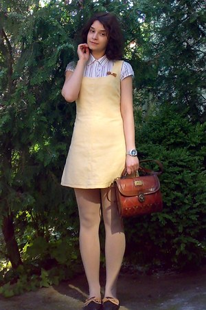 eggshell thrifted crochet jacket - light yellow pinafore thrifted dress
