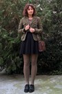 Black-leather-prego-shoes-army-green-h-m-blazer