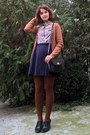 Burnt-orange-tights-black-vintage-picard-purse-bronze-bershka-cardigan