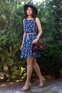 Navy-gifted-floral-dress-black-gifted-h-m-hat-crimson-leather-vintage-purse