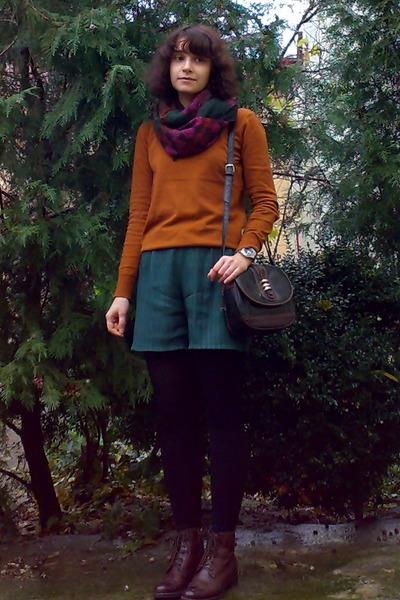 dark brown leather boots - burnt orange Montego sweater - black tights