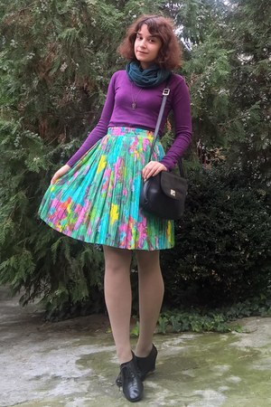 aquamarine watercolor thrifted skirt - deep purple sweater - nude tights