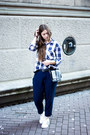 Blue-zara-shirt-black-monki-bag-ivory-adidas-sneakers-navy-zara-pants