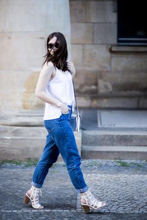 ivory asos bag - blue jeans - ivory Sol Sana heels - white Zara top