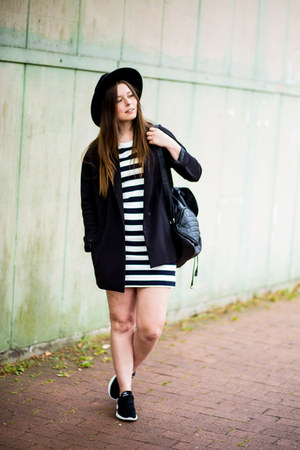 black H&M hat - ivory Zara dress - black H&M blazer - black New Yorker bag