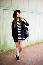 black H&M hat - ivory Zara dress - black H&M blazer - black New Yorker bag