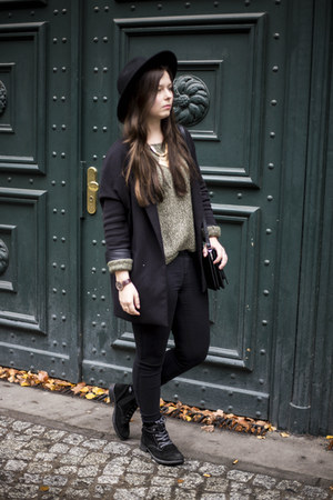 black H&M hat - olive green Vero Moda sweater - black H&M blazer