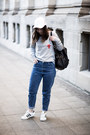 Blue-zara-jeans-white-unknown-hat-heather-gray-nba-sweater-black-asos-bag