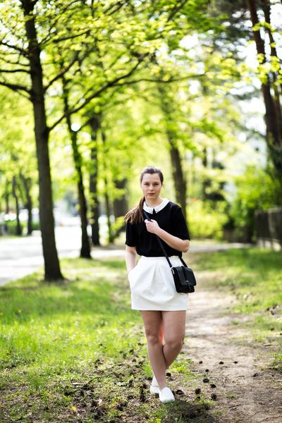 7db77cb27c black H&M shirt - black Monki bag - ivory Zara skirt - white new look  sneakers