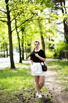 black H&M shirt - black Monki bag - ivory Zara skirt - white new look sneakers