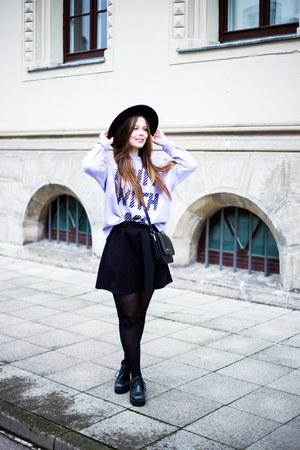 black vagabond boots - black H&M hat - amethyst Monki sweater - black Monki bag