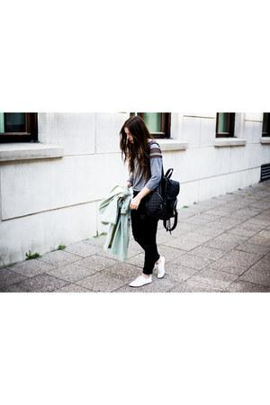 black Gap jeans - ivory Zara shoes - chartreuse weekday coat
