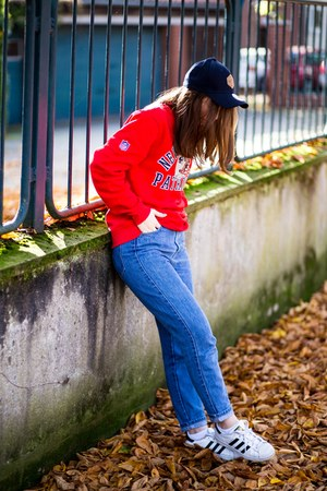 blue Zara jeans - navy newera hat - red New England Patriots sweater
