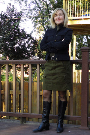 green vince top - black calvin klein jacket - green Anthropologie skirt - black