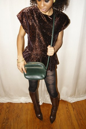 velvet FallenROBOTS blouse - plaid Gap tights - leather aigner purse