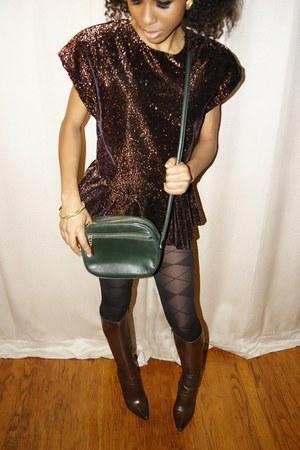 velvet FallenROBOTS blouse - plaid Gap tights - leather aigner purse