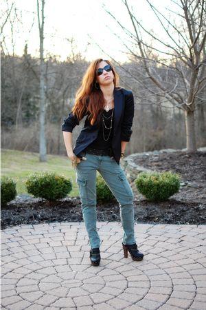 black Elie Tahari blazer - black Gap shirt - green J Brand pants - black sam ede