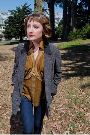brown aryn k top - gray Jack by BB Dakota jacket