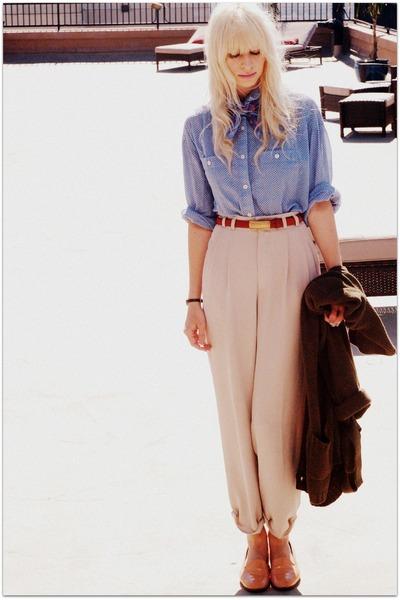 beige vintage pants - blue vintage blouse - green vintage bracelet