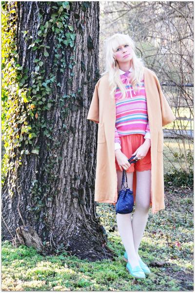 vintage blouse - vintage sweater - urban1972 bag - Urban 1972 shorts