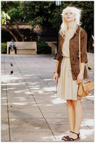 green coat - beige dress