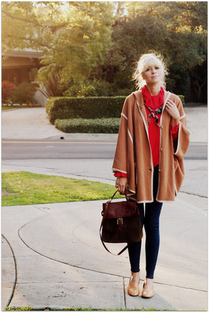 camel H&M sweater - red vintage blouse - navy Forever 21 jeans