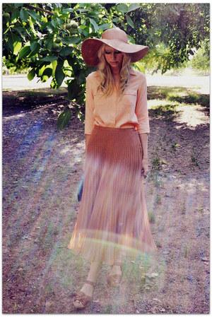 Jcrew hat - romwe bag - vintage blouse - romwe skirt - Mia sandals