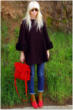 ruffian for anthro coat - asos bag - vintage flats
