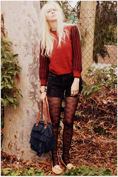 black Gap shorts - orange vintage sweater