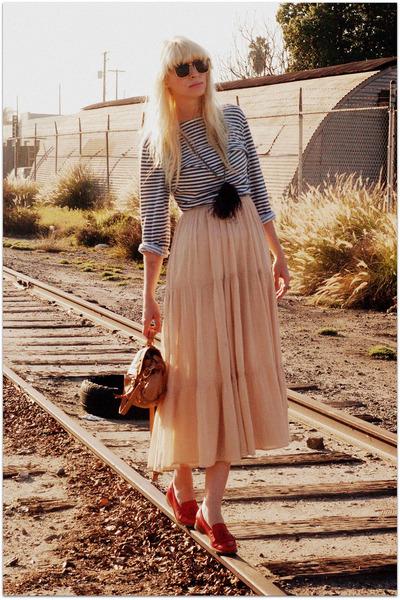 APC shirt - vintage dress - vintage loafers