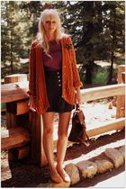 orange vintage cardigan - black vintage shorts - purple vintage blouse - green v