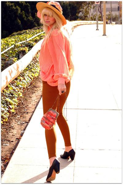 American Apparel pants - TenOverSix boots - romwe dress - vintage hat