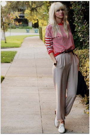 red vintage blouse - beige vintage pants