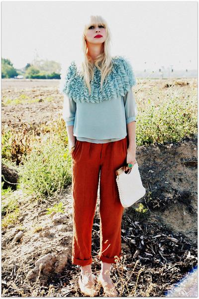 romwe blouse - vintage pants