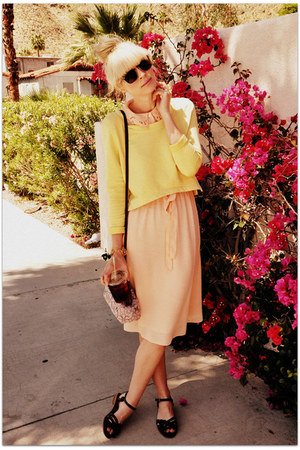 vintage dress - H&M sweater - Rachel Comey sandals
